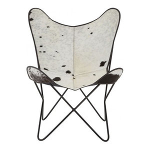 Black and White Cow Hide Leather Butterfly Chair With Iron Frame