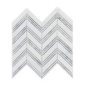 Carrara and Oriental White 12X12 Polished Chevron Mosaic, (4x4 or 6x6)  Sample