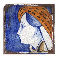 Medieval Profile Terracotta Tiles, Set of 4