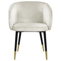 Louise Velvet Dining Chair, Cream