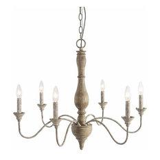 6 Light Wood Antique Candle Chandelier