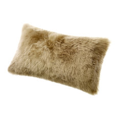 "Longwool Sheepskin 11""x22"" Cushion, Taupe"