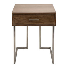 LumiSource Roman Contemporary End Table in Walnut Wood and Stainless Steel