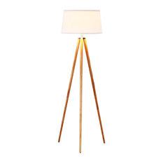 LED Tripod Floor Lamp Modern Design Wood Mid Century Style Lighting