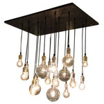 Urban Chandy - 18-Pendant Rustic Chandelier, Gold Sockets, Suspended Mount, With Bulbs - Handmade industrial chandelier has a urban feel. Includes 18 bulbs as pictured. Wood is stained ebony, black wire, and Your choice of socket finishes.