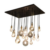 18-Pendant Rustic Chandelier, Gold Sockets, Suspended Mount, With Bulbs