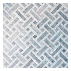 Basket-Weave Carrara Marble Mosaic Tile, Box of 5