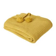 Dreamscene Chunky Pom Pom Knit Throw, Mustard, 150x180 cm