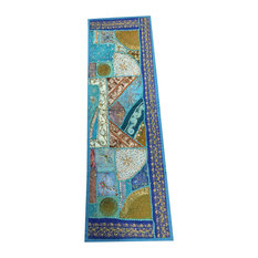 Mogul Interior - Consigned Antique Fabric, Sari Blue Patchwork Sequin Embroidered Tapestry - Tapestries