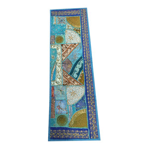 Mogul Interior - Consigned Antique Fabric, Sari Blue Patchwork Sequin Embroidered Tapestry - Table Runners