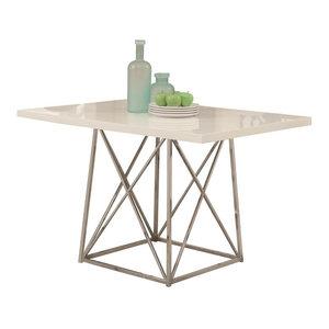 Rectangular Metal Dining Table in White