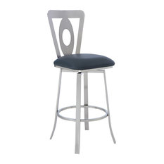 Lola Contemporary 26-inch Counter Height Barstool In Brushed Stainless Steel