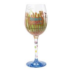 """Beach Girl"" Wine Glass"