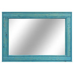 """Renewed Decor - Aqua Stained Herringbone Vanity Mirror, 60""""x30"""" - Give any room in your home charm with this handmade reclaimed styled wood mirror. The wood has been given new life sanded and restored. It now it deserves a place to rest holding a mirror for your family and friends to enjoy for years to come."""