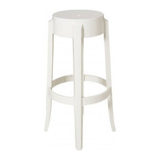 "Charles Ghost Stools, 26"", Matte Glossy White, Set of 2"