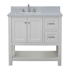 "Cabinet Mania White Shaker 36"" Bathroom Vanity Open Shelf With Marble Top"