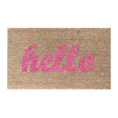 """Hand Painted """"Hello"""" Script Welcome Mat, Pretty in Pink"""