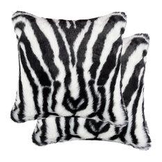 """Belton Faux Fur Pillows, Set of 2, Denton Zebra Black/White, 18""""x18"""""""