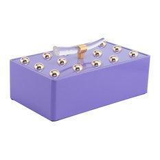 Modern Contemporary Decorative Boxe Tray Decor, Purple, Wood