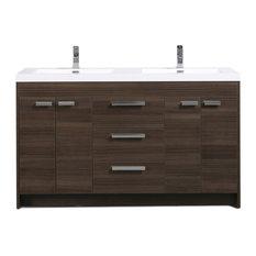 Eviva Lugano 60-inch Modern Double Sink Bathroom Vanity With White Top Gray Oak