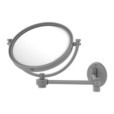 """8"""" Wall Mounted Make-Up Mirror 2X Magnification, Groovy Accent, Matte Gray"""