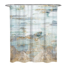 """The Oliver Gal Artist Co. - OliverGal """"Love in Teal"""" Shower Curtain, 71""""x74"""" - Shower Curtains"""