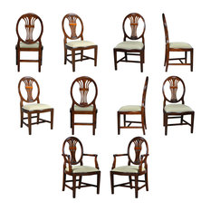 10-Piece Oval Back Inlaid Mahogany Dining Chair Set