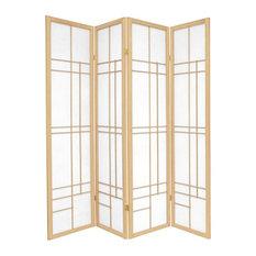 6' Tall Eudes Shoji Screen, Natural, 4 Panels
