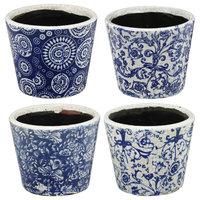 4-Piece Set Small Blue Planters, Blue Finish