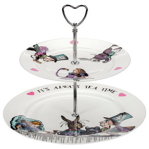Alice in Wonderland Cake Stand, Two-Tier
