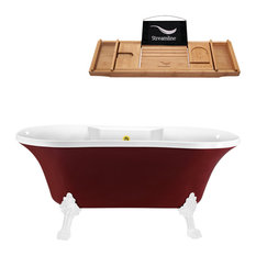 "60"" Red Clawfoot Tub and Tray, White Feet, Gold External Drain"