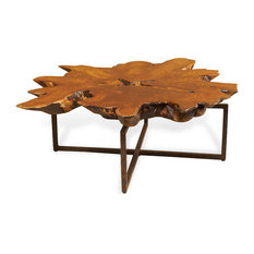 Harrer Rustic Lodge Teak Root Iron Abstract Coffee Table   Coffee Tables