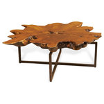 Interlude Tectona Rustic Lodge Teak Root Iron Abstract Coffee Table - As rustically unique as the room it embraces, this naturally gorgeous teak wood table will be the talk of your party. Each one-of-a-kind sculpture has its own grain patterns and patina, complementing the textured iron base and the serene surroundings.