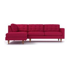 Logan 2-Piece Sectional Sofa, Pink Lemonade, Chaise on Left