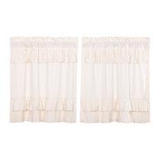 Farmhouse Kitchen Curtains Simplicity Flax Tier Rod Pocket, Set of 2
