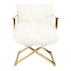 Pasargad Home Mongolian Fur Director's Chair, White/Gold