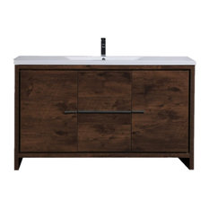 "MOD 59"" Single Sink Free Standing Vanity, Rosewood"