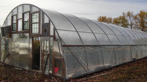 Greenhouse plastic sagging between arches