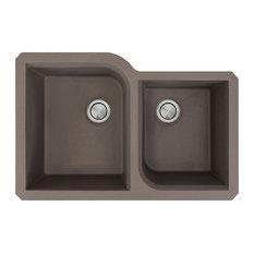 Radius 31.75x20.75x9.5 Granite 1-3/4 Offset Undermount Kitchen Sink, Espresso