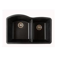 Titan Quartz Undermount 32 in. 55/45 Double Bowl Kitchen Sink with Strainer, Bla