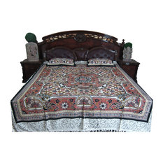 Mogul Interior - Indian Bedding 3 Pcs Bedcover Cotton Brown Queen Bedspread Pillow Covers - Sheet and Pillowcase Sets
