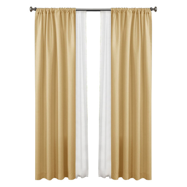 Made4You Window Panel And Sheer Curtain Set, Yellow/Ivory