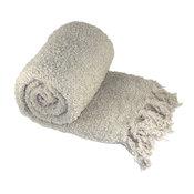Fluffy Knitted Throw, String Grey