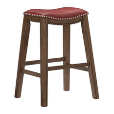 Yannis 29-inch Height Saddle Stool Red
