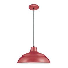 "Millennium Lighting 14"" Corded RLM Pendant, Satin Red"