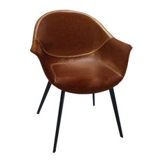 Sunny Out - Baseball Faux Leather Armchair, Brown, Set of 2 - Dining Chairs
