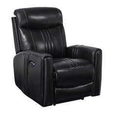 Faux Leather Upholstered Wooden Recliner With Switch Panel Black