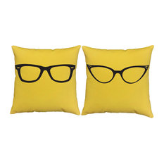 His Hers Glasses Throw Pillow Covers 18x18 Yellow Shams