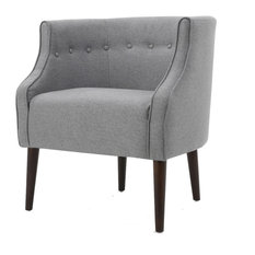Davidson Contemporary Button-Tufted Fabric Club Chair, Gray