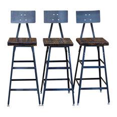 Set Of 3 Urban Bar Stools With Backs Reclaimed Barn Wood Natural Wood 25-inch